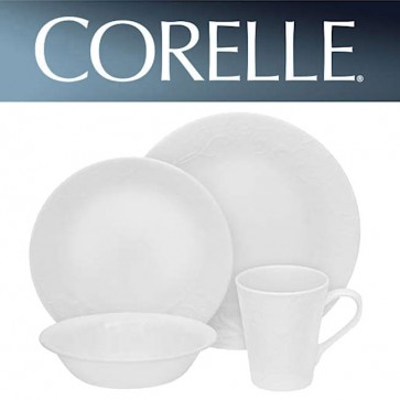 Corelle Bella Faenza 16 Piece Dinner Set White Relief Pattern COR-BELLA-FAENZA-16PC-31