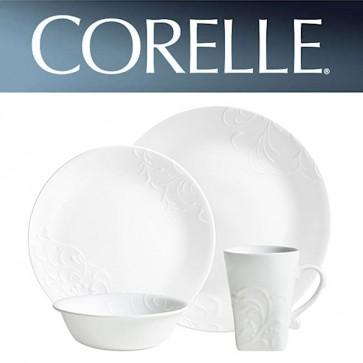 Corelle Cherish Round 16 Piece Dinner Set White Relief Pattern COR-CHERISH-ROUND-16PC-31