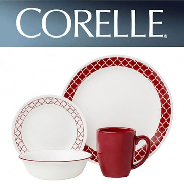 Corelle Crimson Trellis 16 piece Dinner Set COR-CRIMSON-TRELLIS-16PC-31