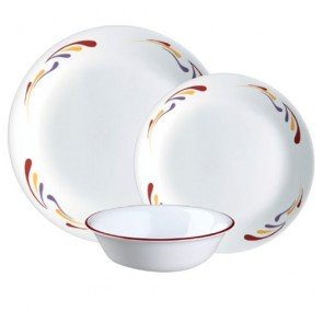 Corelle Celebration 12pc Dinner Set | Red/Yellow/Blue Comet Tail Pattern COCOLCelabration12pcDinnerSet-20