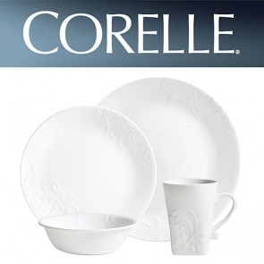 Corelle Cherish Round 16 Piece Dinner Set White Relief Pattern COR-CHERISH-ROUND-16PC-20