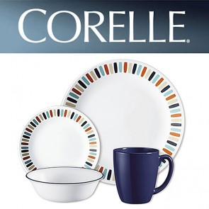 Corelle Payden 16 Piece Dinner Set Multi Coloured Block Pattern COR-PAYDEN-16PC-20
