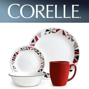 Corelle Mosaic Red 16pc Dinner Set Chip/Break Resistant Dinnerware COR-MOSAIC-16PC-20