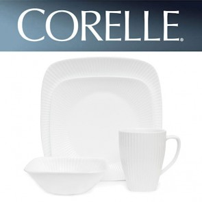 Corelle Sol Square 16 Piece Dinner Set White Ridged Lines COR-SOL-SQUARE-16PC-20