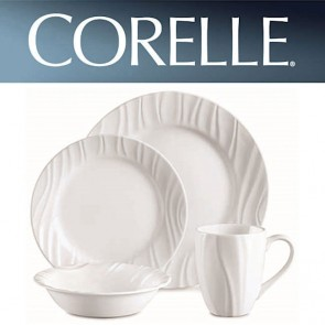 Corelle Swept 16 Piece Dinner Set White Relief Design COR-SWEPT-16PC-20