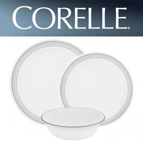 Corelle Mystic Gray 12pc Dinner Set | Grey Line/Dot Design COCOLMysticGrey12pcDinnerSet-20