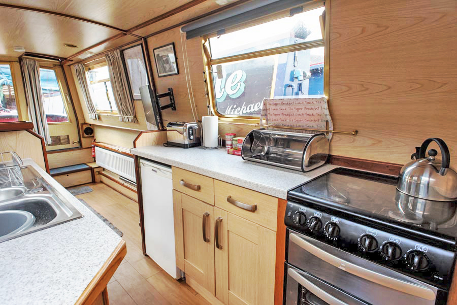 Dawn Mist Narrowboat Kitchen